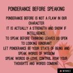 Ponderance before speaking