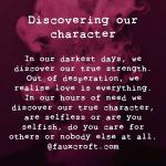 Discovering our character